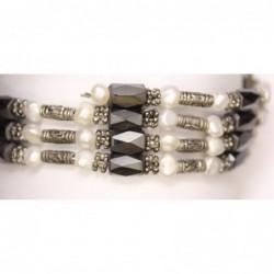 Magnetkette weiß/grau
